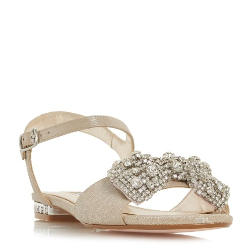 Dune Women Niniva Bejewelled Bow Sandals Low Heel D898236 RHTSMZS