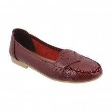 Women Metro 31-6616-Maroon Casual Ballerinas Slip On Flats QQQUGVB