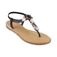 Women Metro 33-356-Black Casual Sandals Back Strap Flats ZGUHSVD
