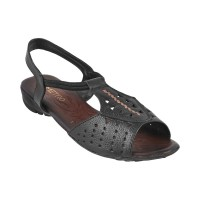 Women Metro 33-413-Black Casual Sandals Back Strap Flats TXJIKWT