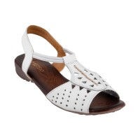 Women Metro 33-413-White Casual Sandals Back Strap Flats TCRCKRL