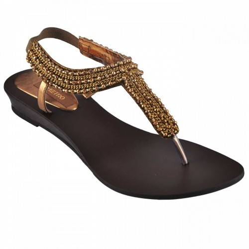 Women Metro 33-8762-Antic-gold Casual Sandals Slip On Flats WDCWETO