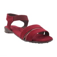 Women Metro 33-9287-Maroon Casual Sandals Slip On Flats KIHUHZE