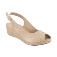 Women Metro 33-9681-Beige Casual Sandals Buckle Wedges JVBPPNV