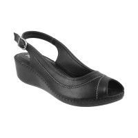 Women Metro 33-9681-Black Casual Sandals Buckle Wedges WXIFHYD