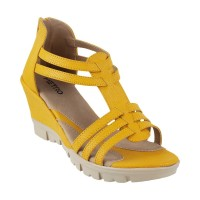 Women Metro 34-9479-Yellow Casual Sandals Zip Wedges DTFOESK