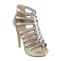 Women Metro 40-1850-Gold Party Sandals Zip Stilettos LMAFVAC