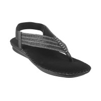 Women Metro 44-9873-Black Party Sandals Back Strap Flats PBYMWZV