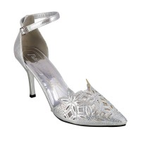 Women Princess 54-3416-Silver Party Sandals Buckle Stilettos HLBTHSC