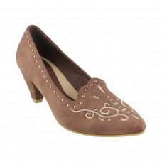 Women Metro 31-8073-Khaki Casual Pumps Slip On Kitten MKTSPCI