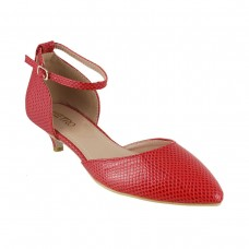 Women Metro 31-8077-Red Formal Pumps Buckle Kitten NDANOSF