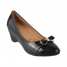 Women Metro 31-8190-Black Formal Pumps Slip On Kitten LWCRNSK