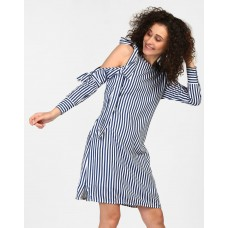 Analese Striped Shift Dress Regular Striped Knots Mini Shift Dress IN1727MTODREBLU-111 VMXRBKV