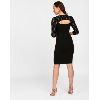 Black Janice Lace Cut Out Bodycon Dress Skinny Black Cotton Mini Bodycon Dress IN1820MTODREBLA-300 AFCKSXN