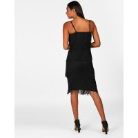 Black Naomi Fringe Detail Bodycon Dress Skinny Black Mini Bodycon Dress IN1809MTODREBLA-117 ZPPRHDT