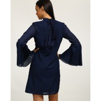 Blue Lima Knotted Bell Sleeve Shift Dress Straight IN1739MTODREBLU-387 CMDPGVZ