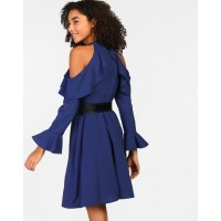Blue Regan Ruffle Detail Skater Dress A-Line Blue Ruffle Mini Skater Dress IN1811MTODREBLU-152 ZVSGQGJ