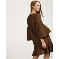 Brown Lola Bell Sleeved Dress Relaxed Brown Bell Sleeves Mini Shift Dress IN1732MTODREBRW-254 SEJZQNX