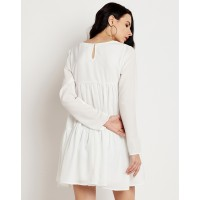 Camille Tier Dress Regular White Ruffle Mini A Line Dress IN1620MTODREWHT-109 JYCBCPB