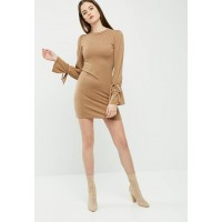 dailyfriday Women Cut & sew sleeve tie dress Caramel YHVXDRU