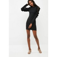 dailyfriday Women Lace shoulder bodycon dress Black CNBUHPL
