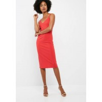 dailyfriday Women Midi double strap bodycon dress Coral RQVNZYS