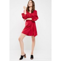 dailyfriday Women Stretch poplin wrap dress Red CYIIHCF