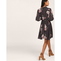 Floral Mallory Knotted Wrap Dress A-Line Floral Knots Georgette Mini Wrap Dress IN1806MTODREFLR-529 JYTOJHG