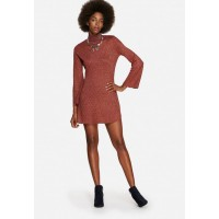 Glamorous Women Funnel Neck Lurex Dress Red Orange EBZNIBB