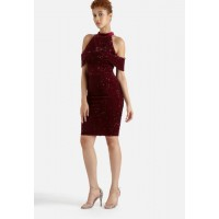 Lavish Alice Women Velvet & Sequin Open Sleeve Dress Bordeaux ATPUXUS