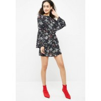 Missguided Women Crepe low back floral dress Black White Red & Green DCAOVDH