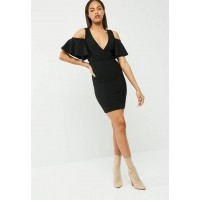 Missguided Women Frill cold shoulder plunge bodycon dress Black USRXGNL