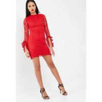 Missguided Women High neck crochet long sleeve mini dress Red GPSSXAF