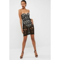 Missguided Women Lace bustcup bandeau midi dress Black & Nude TYLFHAR