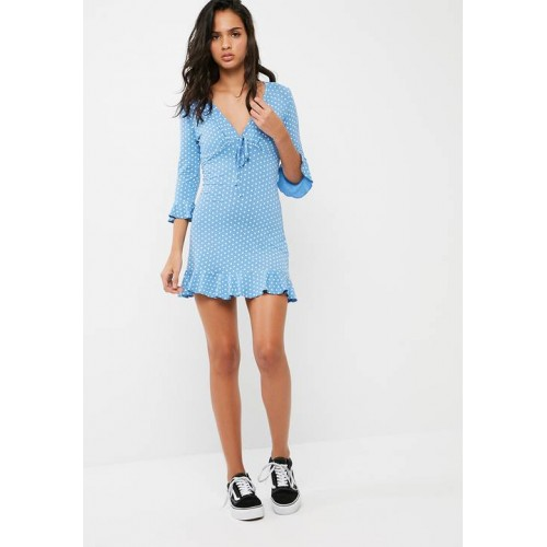 Missguided Women Polka dot jersey tea dress Powder Blue IUOREHQ