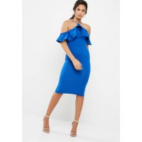 Missguided Women Scuba high neck frill midi dress Blue SAPAADT