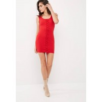 Missguided Women Sleeveless lace up ribbed detail dress Red CJWPGTK