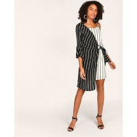 Monochrome Striped Emma Ring Detail Knotted Dress Regular Striped Cold Shoulder Georgette Mini Skater Dress IN1807MTODRESTI-728 LMUXPTS