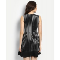 Monochrome Stripes Olivia Wrap Dress Flare Striped Georgette Mini Skater Dress IN1717MTODRESTI-238 LDEJIVG
