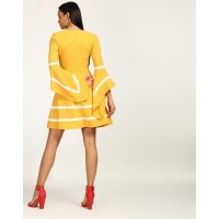 Mustard Drew Bell Sleeved Dress Flare Mustard Bell Sleeves Georgette Mini Skater Dress IN1743MTODREYLW-138 ONUBYFO