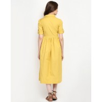 Mustard Errand Dress Regular Mustard Linen Midi Shirt Dress IN1626MTODREYLW-109 QWKUKZV
