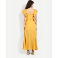 Mustard Gwenn Ruffles Maxi Dress Straight Mustard Ruffle Georgette Maxi Dress IN1717MTODREYLW-310 GURCAOP