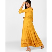 Mustard Kristen Pleated Maxi Dress Flare Mustard Pleated Georgette Maxi Dress IN1817MTODREYLW-490 RYKHIFH