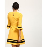 Mustard Riley Skater Dress Flare Mustard Bell Sleeves Georgette Mini Skater Dress IN1744MTODREYLW-282 CIATHGI