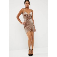 New Look Women Crushed velvet wrap strappy bodycon Nude OEOJORX