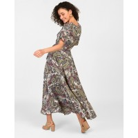 Paisley Printed Lindsay Wrap Dress A-Line Floral Knots Maxi Wrap Dress IN1817MTODREFLR-449 DANDLRS