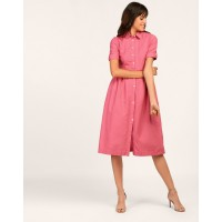 Pink Errand Shirt Dress Regular Pink Linen Midi Shirt Dress IN1804MTODREPNK-410 MJSMFMI