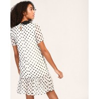 Polka Kylie Pussy Bow Shift Dress A-Line IN1805MTODREMLT-844 BTVTHSK