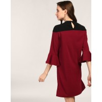 Port Solone Bell Sleeve A Line Dress Straight Maroon Bell Sleeves Georgette Mini A Line Dress IN1745MTODREMAR-509 ZZFUSYH