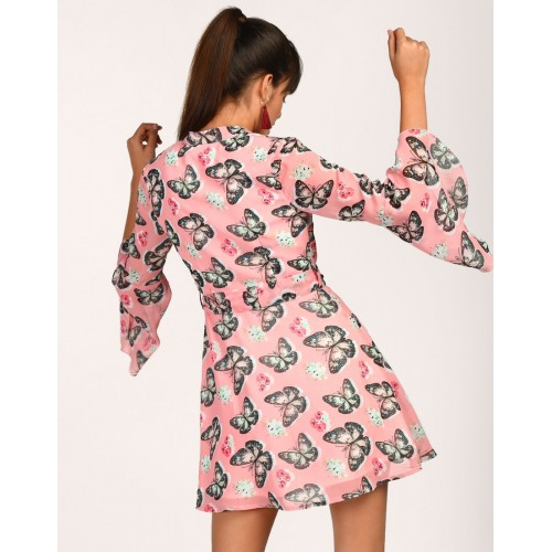 Printed Briannah Knotted Wrap Dress A-Line Printed Bell Sleeves Georgette Mini Wrap Dress IN1805MTODREMLT-914 BTEDHQY
